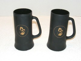 THE PLAYBOY CLUB BLACK FROSTED GLASS BEER STEINS LOT OF 2 GUC  - $24.99