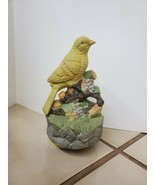 Vintage Yellow Canary Bird Porcelain Music Box Figurine plays and spins - $32.66
