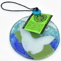 Blue Morpho Butterfly Fused Art Glass Ornament Sun Catcher Handmade Ecuador image 2