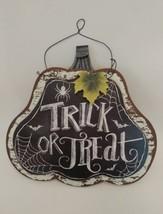 "Halloween Wall Hanging Plaque Sign 3D Decor Pumpkin Reads ""Trick or Trea... - $14.95"