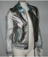 Hilfiger Collection Runway Silver Metallic Leather Bomber Jacket Size 6 - $329.00