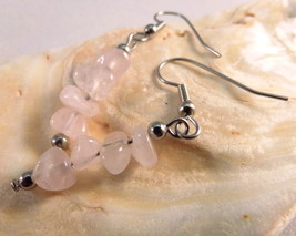 Natural Rose Quartz Chip Straight Bar Drop Earrings Pink Handmade - £15.29 GBP