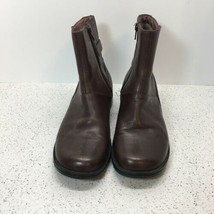 "CLARK'S 8.5 SHORT, ANKLE BOOTS, LEATHER, BROWN, INSIDE ZIPPER, 1"" HEEL - $11.88"