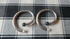 Large Vintage Sterling Silver Tribal Pearl Onyx Spiral Earrings 4.8cm - $41.58