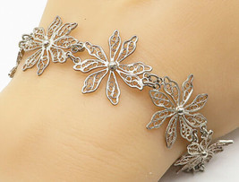 925 Silver - Vintage Tanzanite Bead Adjustable Floral Filigree Bracelet ... - $29.27