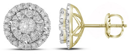 14k Yellow Gold Round Diamond Concentric Circle Frame Cluster Earrings 1 Cttw - $1,349.00