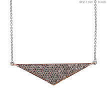 Pave Diamond 18k Rose Gold TRIANGLE Pendant Chain Necklace Designer Fine... - $1,107.09