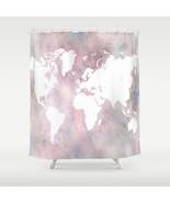 Shower curtains modern art shower curtain Design 66 world map pink gray ... - $68.99