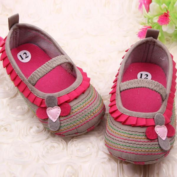0-12M Sweetborn Baby Girls Flower Shoes Toddler Soft Bottom Kids