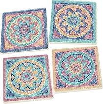 Mosaic Floral Glasstile Look 4 Piece Square Ceramic Coaster Set
