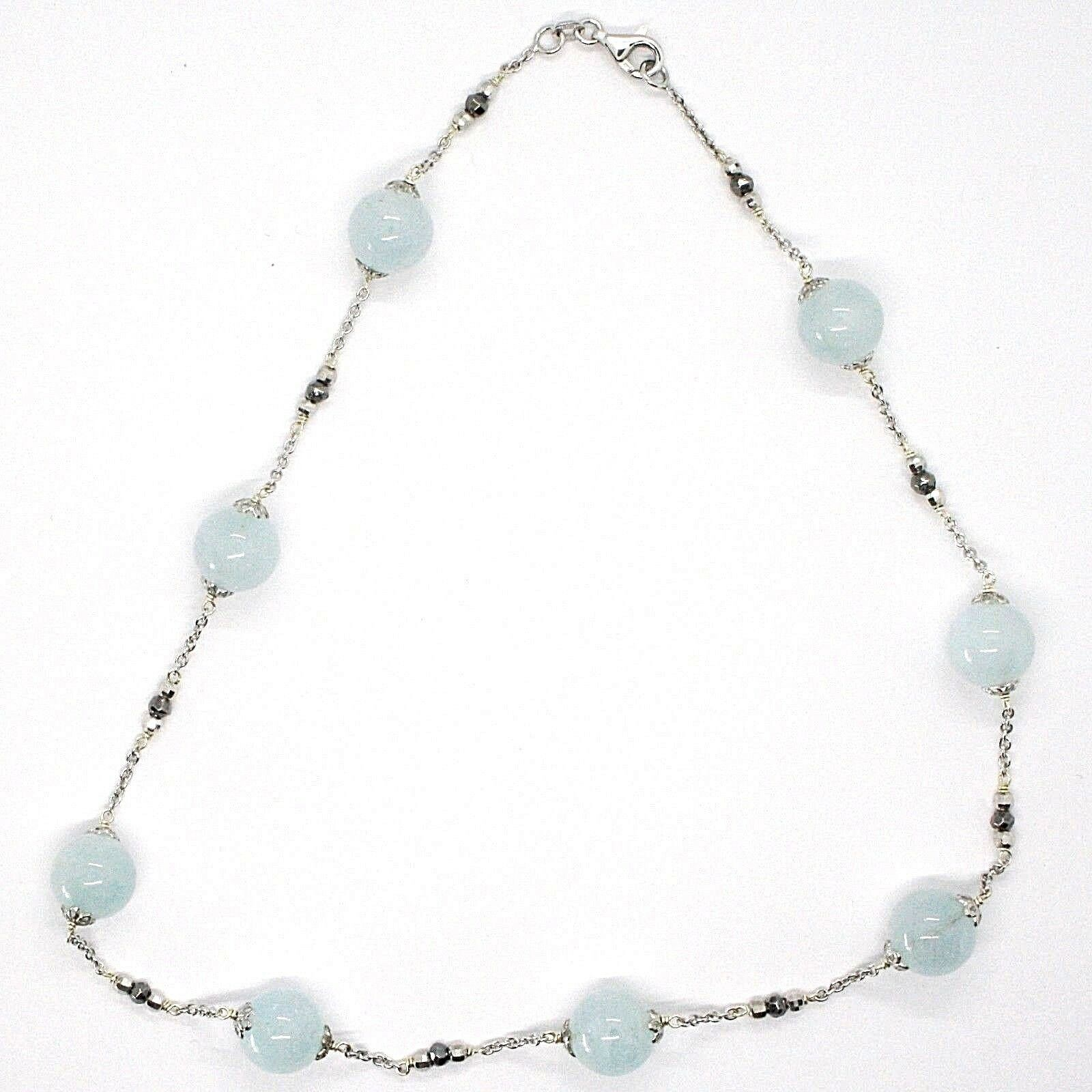 Necklace Silver 925, Aquamarine Spheres, Pyrite Faceted, Chain Rolo '