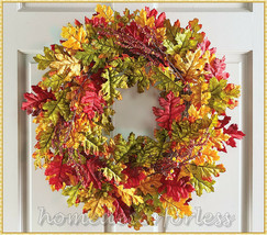 Fall Autumn Harvest Leaves Berries Wreath Door Porch Wall Hanging Home D... - $23.05