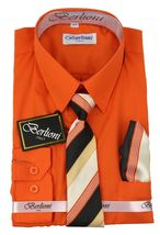 Berlioni Italy Toddlers Kids Boys Long Sleeve Dress Shirt Set With Tie & Hanky image 12