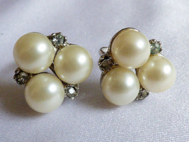 Vintage White color pearl faux beads Crystal silver tone screw clip earrings - $20.79