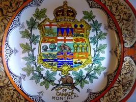 "1911 Wedgwood Etruria Dominion of Canada Montreal 10"" Plate Hand Painted Orange image 2"