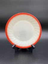 "Vintage Fire King Sunrise Swirl Ivory Red Trim Salad Plate 7-5/8"" - $21.73"