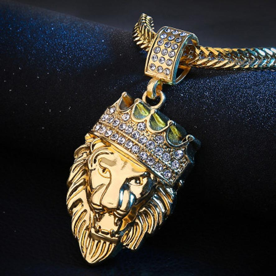 Hion man personality full iced out rhinestone lion tag cuban chain pendant necklace delicate 333