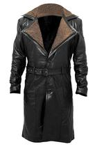 Blade Runner  2049 Ryan Gosling Officer K Brown Fur Lapel Black Leather Coat image 1