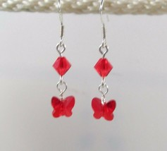 made w Petite Red Swarovski Elements Crystal Butterfly n Red bi cone Ear... - $10.89