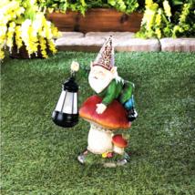 Gnome On Mushroom Solar Statue - $33.69