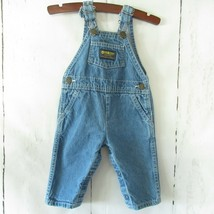 Oshkosh Bgosh Overalls Baby 6 - 9 Months Blue Denim Jeans Vestbak  - $18.51