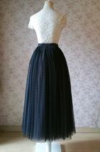 Adult Long Tulle Skirt, Black Gray Polka-dots Tulle Skirt, Evening long skirts image 5