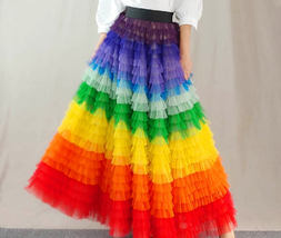 Adult Rainbow Tulle Skirt Long Colorful Rainbow Tutu Rainbow Costume High Waist  image 5