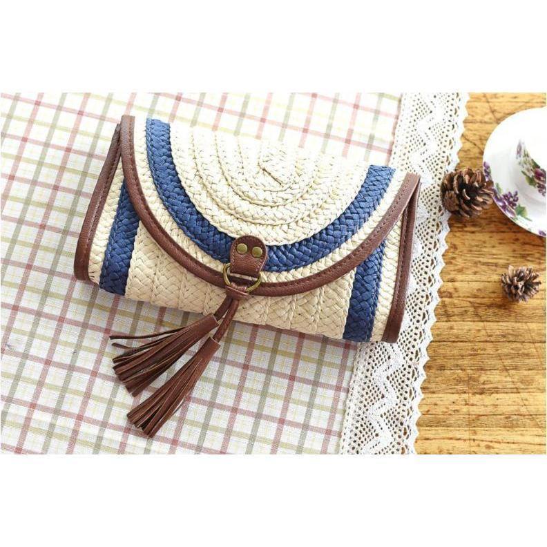 Vintage Straw Tassels Women Messenger Clutch Bags