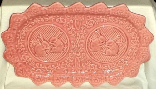 Bordallo Pinheiro Serving Tray Celery Dish Pink Bunny Rabbits Portugal