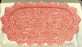 Bordallo Pinheiro Serving Tray Celery Dish Pink Bunny Rabbits Portugal - $18.99