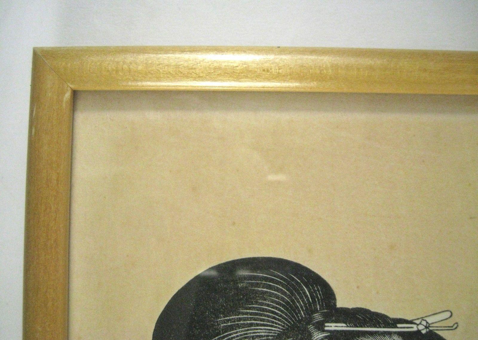 Japanese Woodblock Print Geisha Framed 15 and 10 similar items