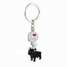 Black French Bulldog Keychain Frenchie Pendant Dog Key Chain Enamel - £10.78 GBP