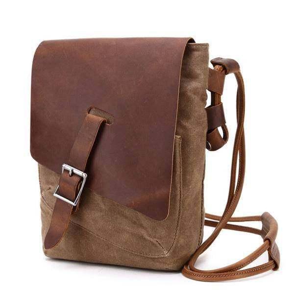 Sale, Leather with Canvas Crossbody Bag, Canvas Messenger Bag, Vintage Messenger
