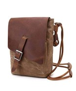 Sale, Leather with Canvas Crossbody Bag, Canvas Messenger Bag, Vintage M... - $90.00