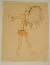 Native American Drawn Bow Arrow Color Sketch Drawing Original 12 x 15 - $321.04