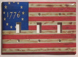 Betsy Ross star 1776 US Flag Wooden Switch Outlet wall Cover Plate Home Decor image 7