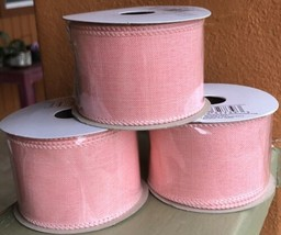 Offray Ribbon Pink Linen Lot Of 3 Polyester 2in X 9ft Spring - $15.32