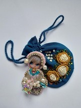 Brooch Doll,   Silk Bag with Embroidery for jewelry 100% handmade size-l... - $80.00