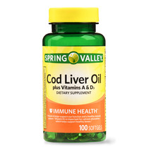Spring Valley Cod Liver Oil Plus Vitamins A & D3, Immune Health, 100 softgels - $12.88