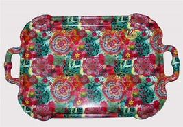 "VIVENZI Italy Lg Digital Print Floral Colorful Melamine 22"" Scalloped Tr... - $42.99"