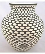 "Acoma GEOMETRIC HONEYCOMB POTTERY VASE, 6"" Whiteware Pot, Native Paula E... - $1,249.00"