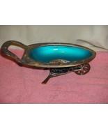 Vintage Ornate Trinket Bowl Decor Brass Green Enamel 1 Wheel Cart Raj Of... - $64.35