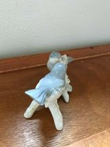 Estate Small Gray & White Porcelain Birds on Tree Branch Figurine-  3 inches tal image 3