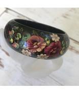 Stunning Vintage Handpainted Wooden Bracelet Floral And Scroll Design Pa... - $29.70