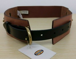 Fossil Women's Waist Color-block Brown And Black Stretch Belt Leather Si... - £18.02 GBP