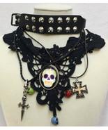 Goth Girl Necklaces & Bracelet Black Studs Skulls Sword Dagger Coptic Cr... - $12.86