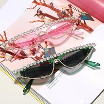 Cat Eye Sunglasses Women  Luxury Diamond Sunglasses Men Small Glasses Ladies Vin image 5
