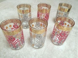 ANTHROPOLOGIE Set of 6 Pink/White/Gold Painted Juice/Soda Glasses    - $30.96