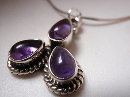 New Triple Teardrop Amethyst Sterling Silver Pendant - $14.99