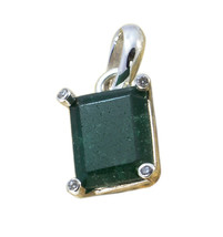 grand Indian Emerald 925 Sterling Silver Green Pendant genuine Designer ... - $11.99